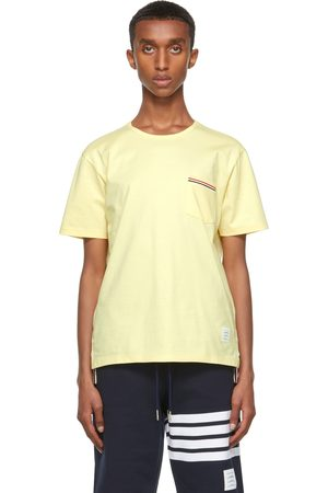 Men Short Sleeve - Thom Browne Yellow Jersey Striped Chest Pocket T-Shirt