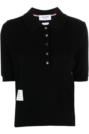 Thom Browne Logo-patch knitted polo shirt