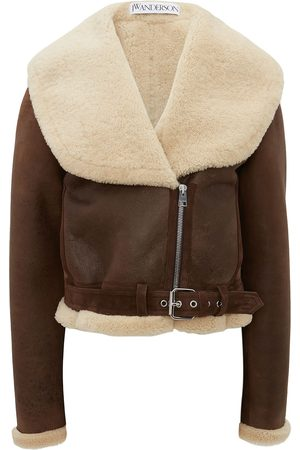 J.W.Anderson Women Leather Jackets - Shearling-collar leather jacket