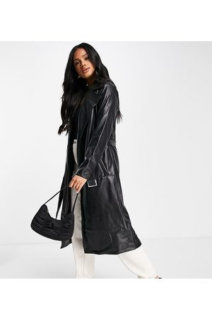 Missguided Faux leather trench coat in
