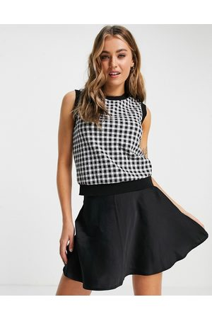 New Look Crew neck gingham knitted vest in check