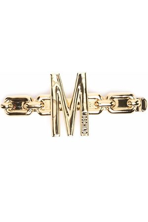 Moschino Logo embellished hair clip