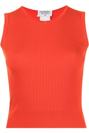 CHANEL CC ribbed sleeveless knitted top