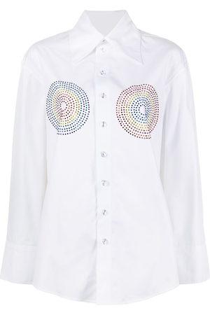 Christopher John Rogers Rhinestone-embellished cotton shirt
