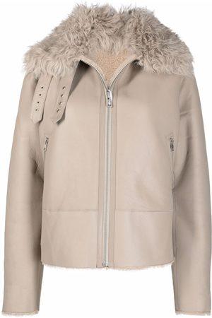 LISKA Shearling-trim sheepskin jacket