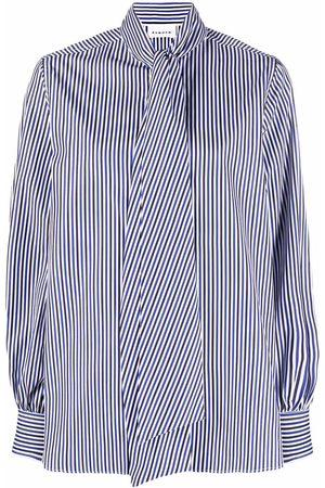 P.a.r.o.s.h. Women Long Sleeve - Striped pussy-bow shirt
