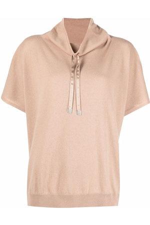 PESERICO SIGN Drawstring short-sleeve knit top
