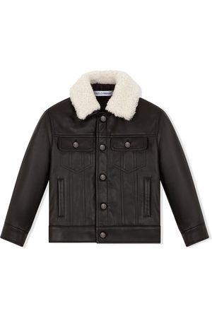 Dolce & Gabbana Boys Trench Coats - Contrast-collar leather jacket