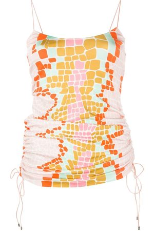 Roberto Cavalli Abstract-print ruched vest top