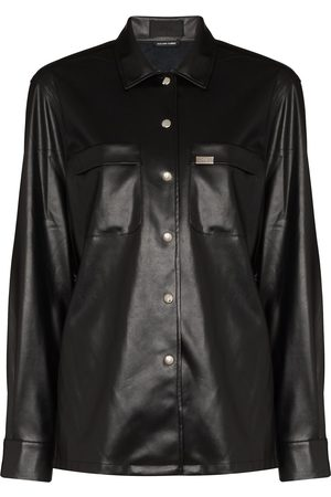 RTA Barry faux-leather shirt