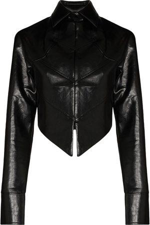 ALEKSANDRE AKHALKATSISHVILI Cropped faux-leather jacket