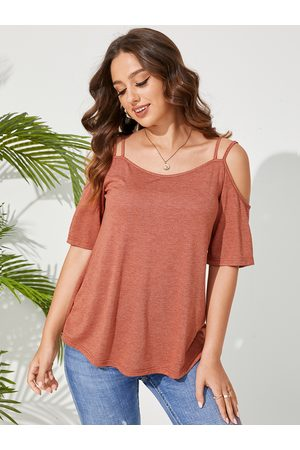 YOINS Spaghetti Straps Cold Shoulder Short Sleeves Tee