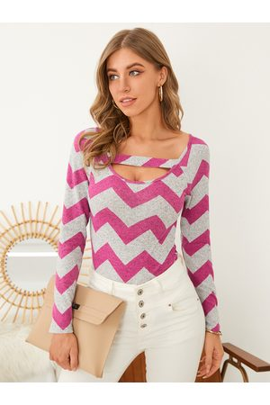 YOINS Striped Colorblock Cut Out Long Sleeves Knitwear