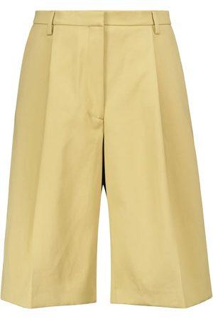 DRIES VAN NOTEN Wide-leg pleated cotton shorts