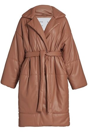 PROENZA SCHOULER WHITE LABEL Faux Leather Puffer Trench Coat