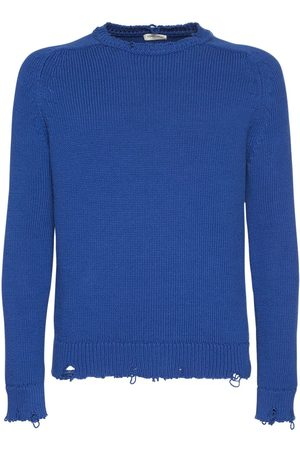 Saint Laurent Men Jumpers - Distressed Cotton Knit Sweater