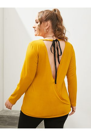 YOINS Plus Size Backless Design Tie-up Design Long Sleeves Tee