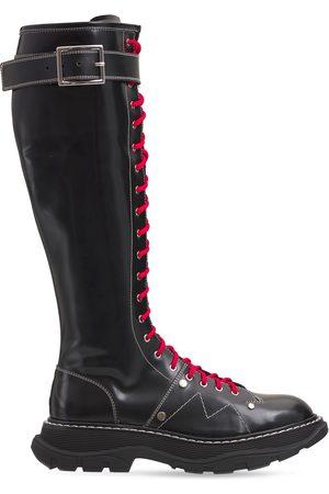 Alexander McQueen Women High Leg Boots - 40mm Treaded Tall Brushed Leather Boots