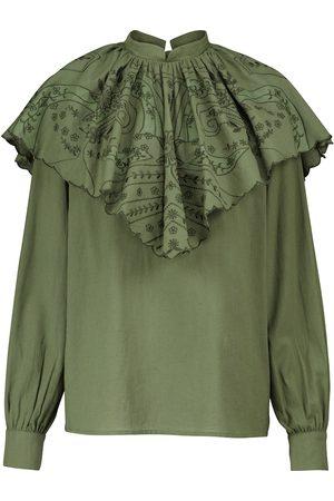 Etro Ruffle neck cotton blouse