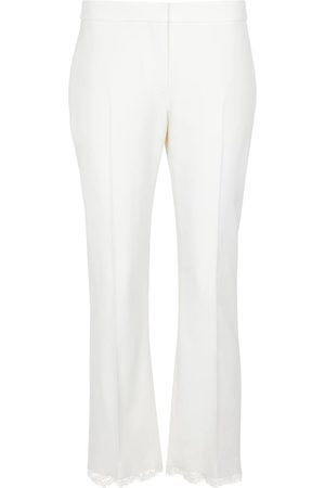 Alexander McQueen Lace-trimmed straight wool pants