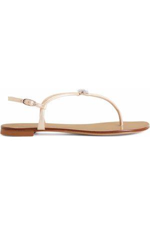 Giuseppe Zanotti Hollie Crystal leather flip flops