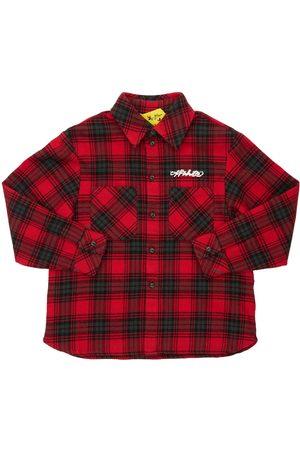 OFF-WHITE KIDS Boys Shirts - Logo Check Cotton Flannel Shirt