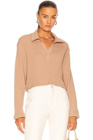 THE RANGE Cropped Long Sleeve Polo Top in Light Tawny