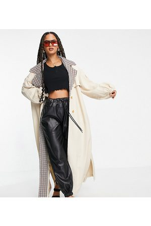 Missguided Check collar balloon sleeve trench coat in sand
