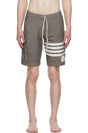 Thom Browne Grey Tech 4-Bar Board Swim Shorts