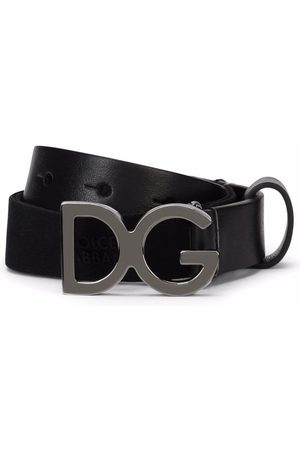 Dolce & Gabbana Logo-buckle leather-trim belt