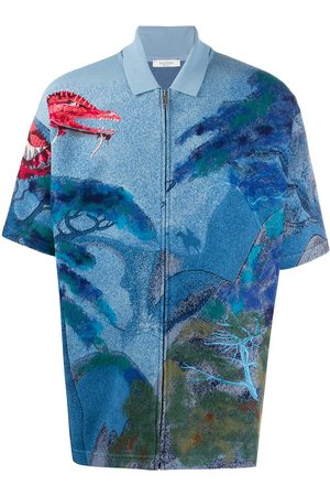 VALENTINO Red dragon embroidered knitted shirt