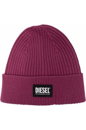 Diesel Logo-patch ribbed-knit beanie