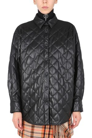 MSGM Women Leather Jackets - QUILTED FAUX LEATHER JACKET
