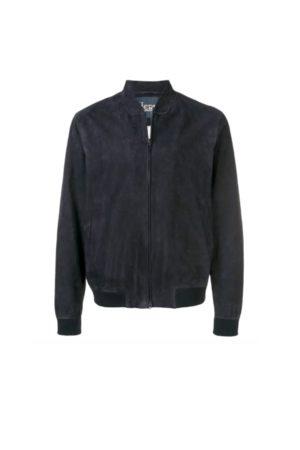 HERNO Men Leather Jackets - Navy Suede Bomber Jacket
