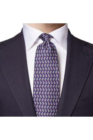 Eton Purple Floral Print Silk Tie A0003310479