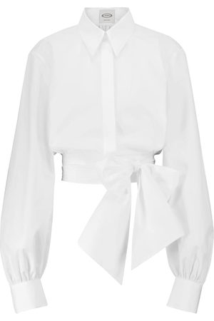 Tod's Long-sleeved cropped cotton shirt