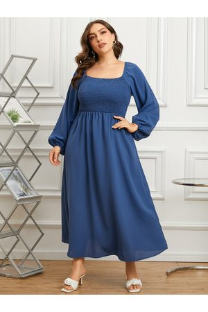 YOINS Plus Size Shirring Cut Out Tie-up Design Long Sleeves Dress