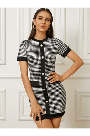 YOINS Houndstooth Pattern Front Button Crew Neck Short Sleeves Mini Dress