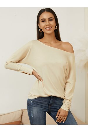 YOINS Button Design One Shoulder Long Sleeves Tee
