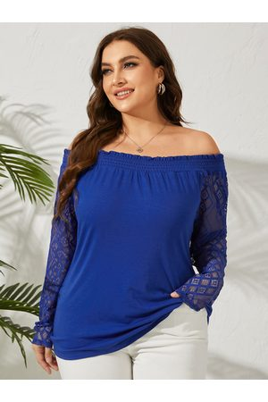 YOINS Plus Size Off The Shoulder Backless Design Long Sleeves Tee