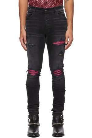Men Leather Trousers - AMIRI & Pink Cracked Leather MX1 Jeans