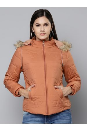 Foreign Culture By Fort Collins Women Peach-Coloured Parka Jacket with Detachable Hood