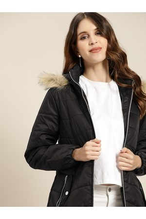all about you Women Black Solid Parka Jacket
