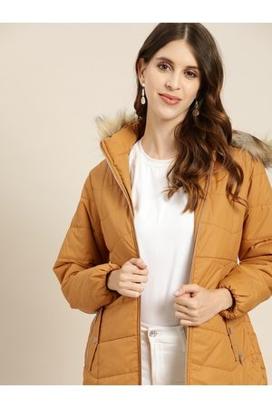 all about you Women Mustard Yellow Solid Parka Jacket