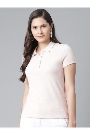 Marks & Spencer Women Pink Cotton Polo Collar T-shirt