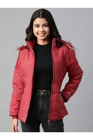 Foreign Culture By Fort Collins Women Maroon Parka Jacket with Detachable Hood