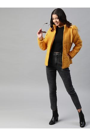 Foreign Culture By Fort Collins Women Mustard Yellow Parka Jacket with Detachable Hood
