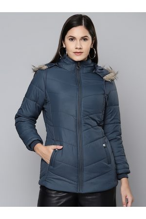 Foreign Culture By Fort Collins Women Navy Blue Parka Jacket with Detachable Hood