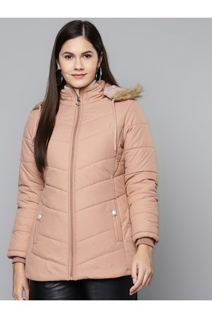 Foreign Culture By Fort Collins Women Peach-Coloured Hooded Parka Jacket