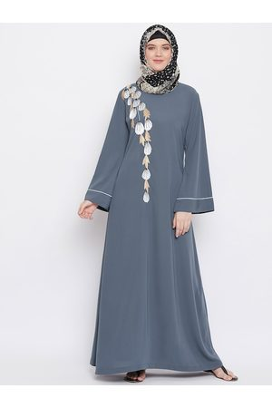 MOMIN LIBAS Women Grey Embroidered Abaya